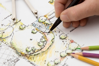 Landscape Architect sketching Detail on Garden Plan. Design, Idea and Sketch is my own Work.